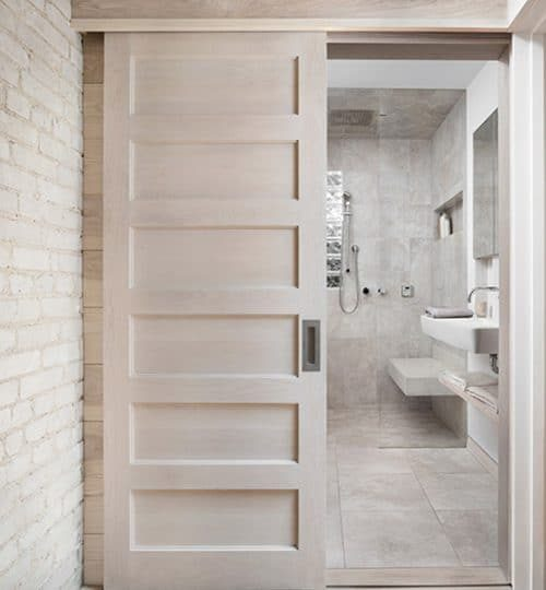Modern bathroom renovation Toronto (pocket door)