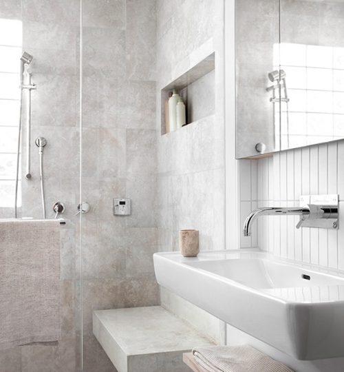 Modern bathroom renovation Toronto (sink & shower)